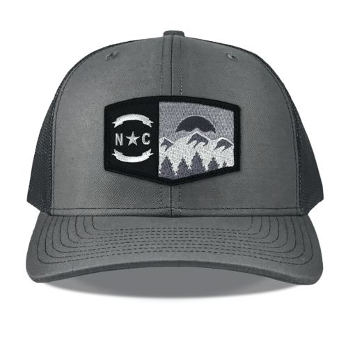 Richardson-112-charcoal-snapback-trucker-north-carolina-mountains-embroidered-black-patch