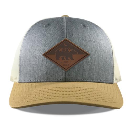 Richardson-115-heather-birch-gold-snapback-trucker-north-carolina-bear-leather-patch