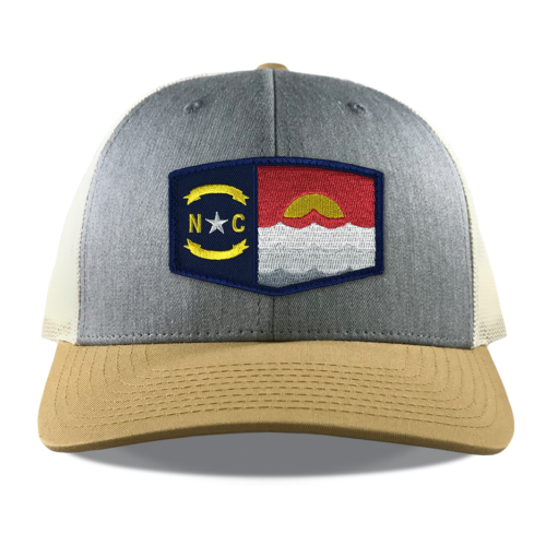 Richardson-115-heather-birch-gold-snapback-trucker-north-carolina-coast-patch