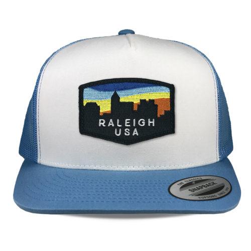 Yupoong-6006-carolina-blue-white-flatbill-snapback-raleigh-skyline-patch