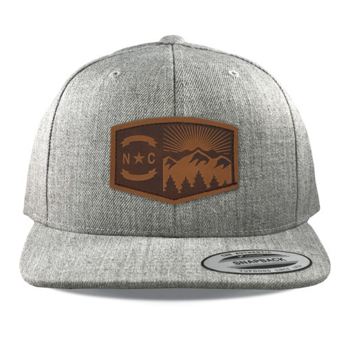 Yupoong-6089-heather-grey-north-carolina-mountains-leather-patch-hat