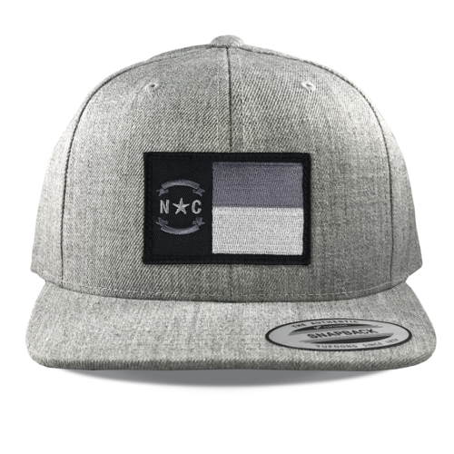 Yupoong-6089-heather-snapback-flatbill-north-carolina-flag-patch
