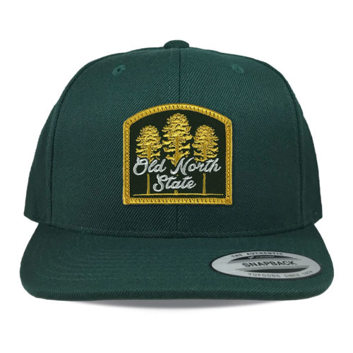 Yupoong-6089-spruce-flat-bill-snapback-old-north-state-land-of-the-pines-patch