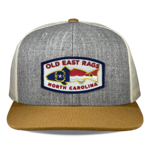Richardson-511-heather-birch-gold-snapback-flatbill-old-east-rags-fishing-patch