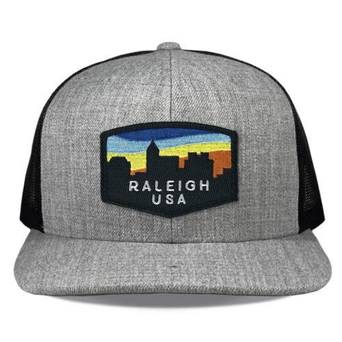 Richardson-511-heather-black-snapback-flatbill-raleigh-skyline-patch