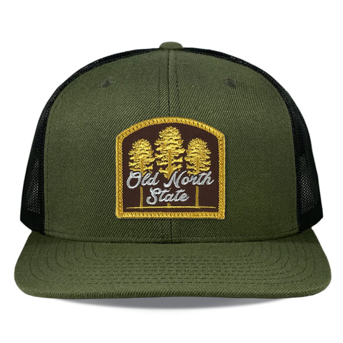 Richardson-511-loden-black-snapback-trucker-old-north-state-brown-patch